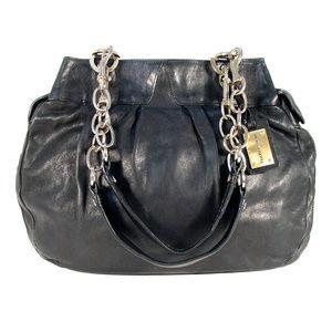 ALEXIS HUDSON Expandable Black Leather Satchel